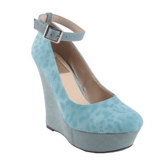 Fahrenheit by Beston Women's 'Ivanka-09' Teal Ankle Strap Platform Wedges