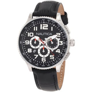Nautica Men's OCN 38 Black Leather Strap Quartz Watch