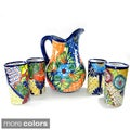 Mexican Talavera Style Pitcher and Cups 5-piece Set