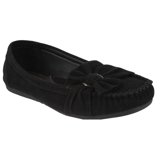 Spicy by Beston Women's Bow Moc Toe Flats