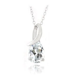 Glitzy Rocks Sterling Silver White Topaz Infinity Teardrop Necklace