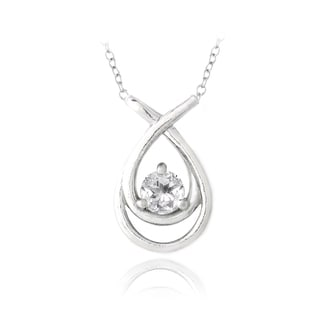 Glitzy Rocks Sterling Silver White Topaz Twist Necklace