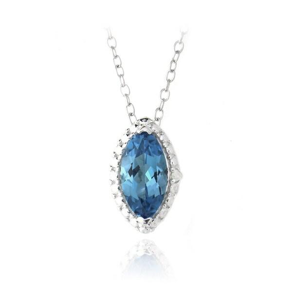 Glitzy Rocks Sterling Silver London Blue Topaz and Diamond Necklace