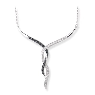 Icz Stonez Sterling Silver 3/8ct TGW Black and White Cubic Zirconia Necklace
