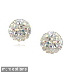 Icz Stonez Sterling Silver and Crystal Fireball Stud Earrings