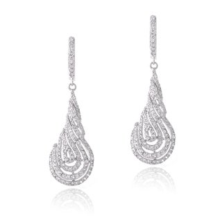 Icz Stonez Rhodium-plated Cubic Zirconia Twist Dangle Earrings
