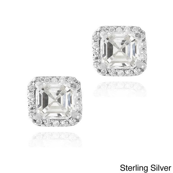 Icz Stonez Sterling Silver 2 7/8ct TGW Cubic Zirconia Square Earrings