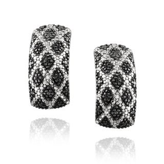 DB Designs Rhodium-plated 1/10ct TDW Black Diamond Cuff Earrings