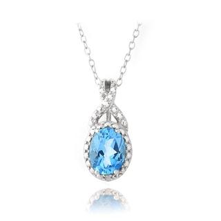 Glitzy Rocks Silver 1 1/2ct TGW Swiss Blue Topaz and Diamond Necklace