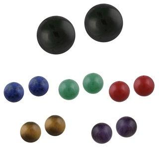 Glitzy Rocks Sterling Silver Round Gemstone Earrings