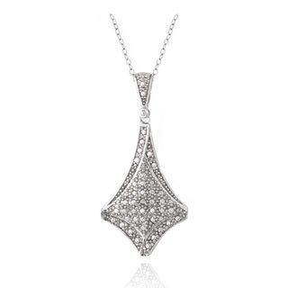 DB Designs Sterling Silver Diamond Accent Diamond-shaped Necklace