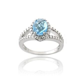Glitzy Rocks Silver 1 1/2ct TGW Swiss Blue Topaz and Diamond Ring