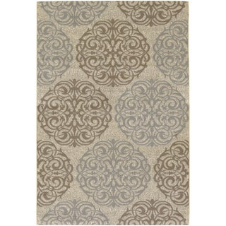 Five Seasons Montecito/ Cream-Sky Blue Area Rug (7'6 x 10'9)