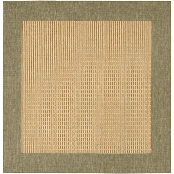 Recife Checkered Field/ Natural-Green Square Rug (7'6 x 7'6)
