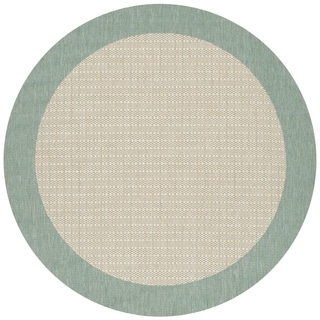 Recife Checkered Field/ Natural-Green Area Rug (8'6 Round)