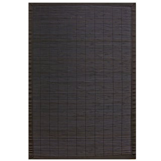 Midnight Bamboo Rug with Black Border (6' x 9')