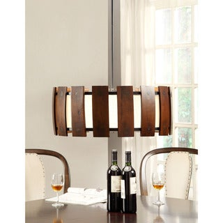 Schoolhouse Wood 3-light Medium Walnut Pendant