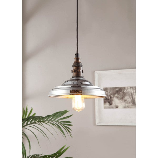 Vintage Farmhouse 1 light Chrome Pendant Overstock Shopping Great Deals o