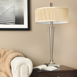 Retro Mid-Century 2-light Brushed Nickel Table Lamp