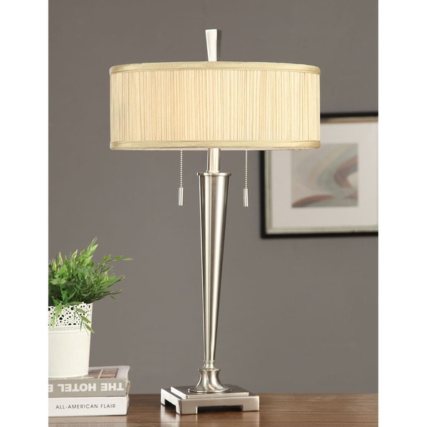 retro mid century 2 light brushed nickel table lamp. Black Bedroom Furniture Sets. Home Design Ideas