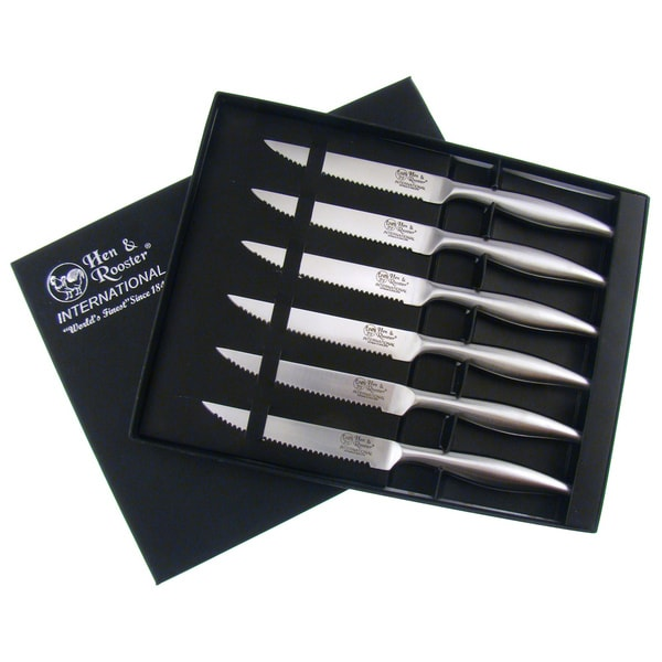 Hen & Rooster Stainless Steel Steak Knife Set (Set of 6)