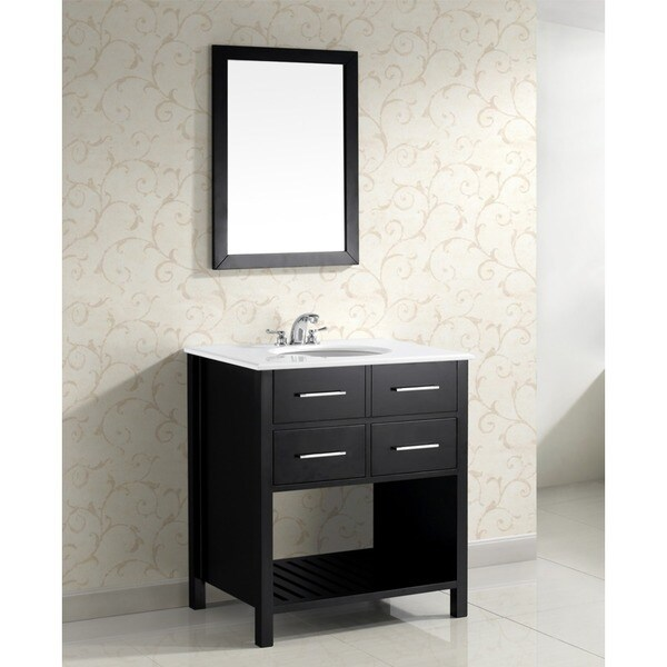 WYNDENHALL Manhattan 30-inch Black and Ceramic Contemporary Bathroom Vanity