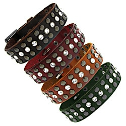 Moise Colored Leather Crystal Stud Accent Adjustable Bracelet