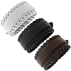 Moise Leather Stitched Accent Adjustable Bracelet
