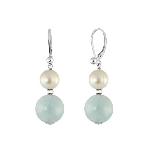 Sterling Silver Aquamarine and FW Pearl Leverback Earrings (8-8.5 mm)