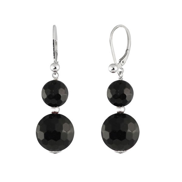 Sterling Silver Faceted Black Agate Bead Leverback Earrings