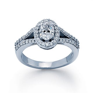 14k White Gold 7/8ct TDW Diamond Oval Halo Engagement Ring (H-I, SI1-SI2)