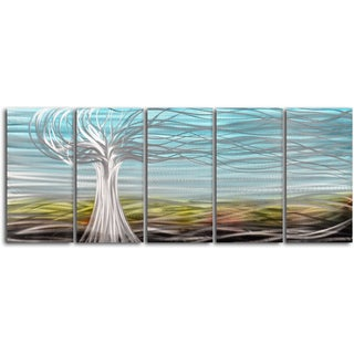 'Ghostly tree' 5-piece Handmade Metal Wall Art Set
