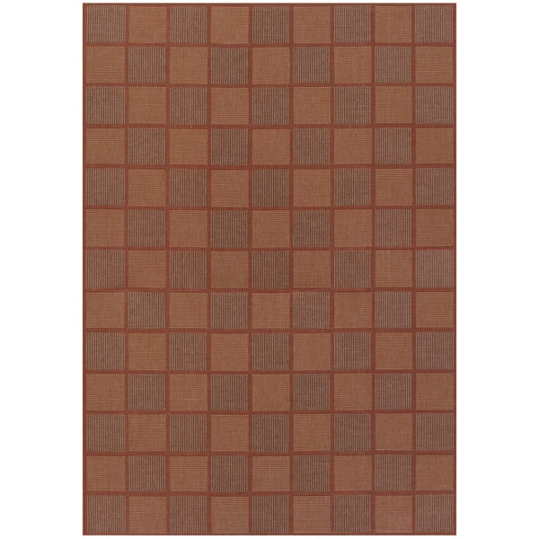Five Seasons San Marcos Natural and Red Geometric Rug (8'6 x 13')