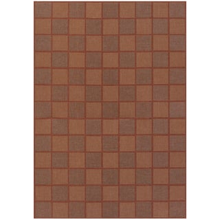 Five Seasons San Marcos Natural and Red Geometric Rug (7'6 x 10'9)