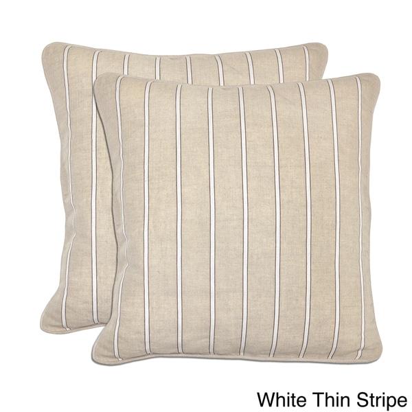Kosas Home Bella Textured Linen Stripe Throw Pillows (Set of 2)