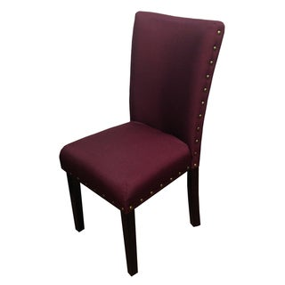 Purple Red Nail Head Design Parson Dining Chairs (Set of 2)