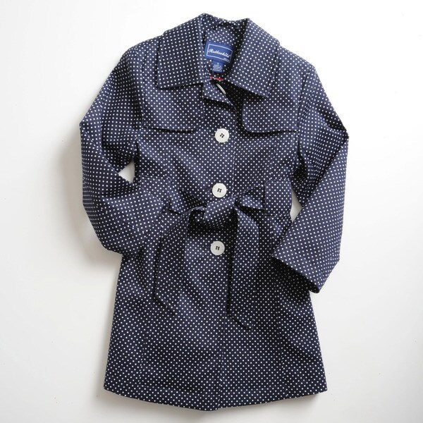 Rothschild Girl's Machine-Washable Navy-and-White Breathable Trench Coat