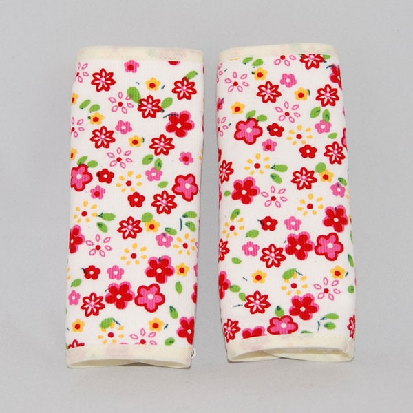 Augusta Baby White Flower Reversible Car Seat Belt Strap Cover