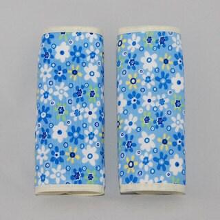 Augusta Baby Blue Flower Corduroy Reversible Car Seat Belt Strap Cover