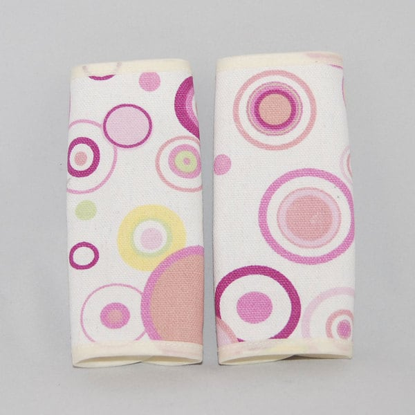 Augusta Baby Pink Circles Reversible Car Seat Belt Strap Cover