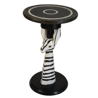 Handmade 19-Inch Zebra Side Table (Ghana)