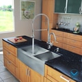 VIGO Stainless Steel All-in-One Farmhouse Double Bowl Kitchen Sink and Chrome Faucet Set