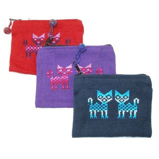 Set of Three Handwoven Nahuala Cat Coin Purses (Guatemala)