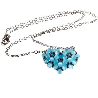 Gunmetal Chain Blue Heart Cat's Eye Bead Necklace