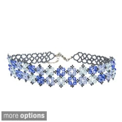 Sienna Jewelry Stainless Steel Angle Silky Blues Crystal Choker