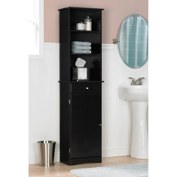 bathroom linen tower in espresso with shelved cabinet storage and 4
