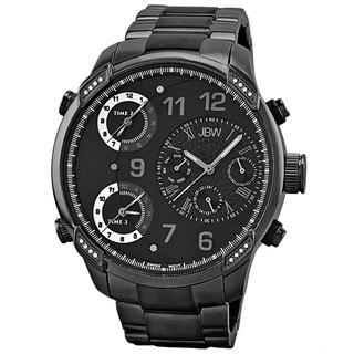 JBW Men's 'G4' Multi Time Zone Black Steel Lifestyle Diamond Watch