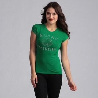 Women's Green 'Kiss Me I'm Irish' T-shirt