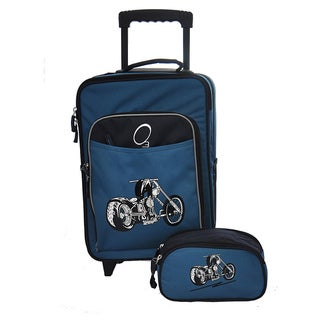 O3 Kids Blue Motorcycle Luggage and Toiletry Bag Set