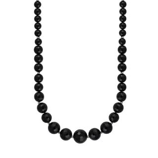 Sterling Silver Graduated Faceted Black Agate Bead 18-inch Necklace